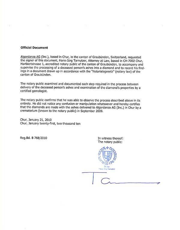 Algordanza Notorial Certificate Swiss Government