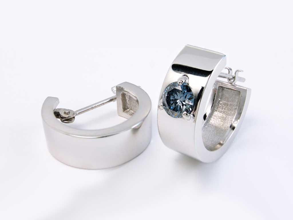 White Gold Earrings Ash Diamond Algordanza UK