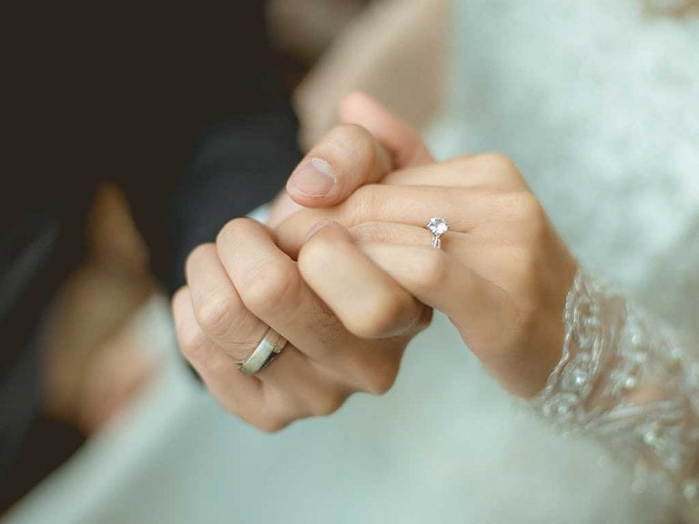 Celebration or Promise Diamonds in a wedding ring made of hair