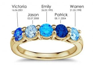 5 blue to clear celebration diamonds in a gold ring